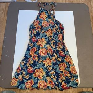 American Eagle Floral Halter Neck Mini Dress